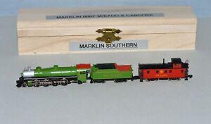 Z Scale Marklin 8807 2-8-2 Mikado Southern Steam Locomotive & Caboose