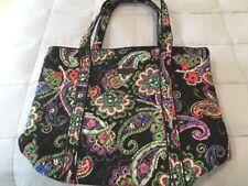 NWT Vera Bradley Vera Tote Bag Kiev Paisley NEW Travel Work Gym Large Black Flaw