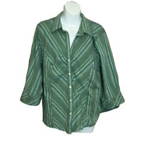 CATO Women's Plus Size Green Pin Stripped 3/4 Sleeve Button Up Blouse Size 18/20
