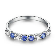 Solid 10K White Gold Sapphires Cubic Zirconia Gemstone Vintage Ring Engagement