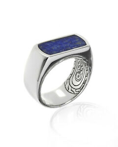 John Hardy $495 Mens New Sterling Silver Lapis Lazuli Classic Chain Ring Sz 10
