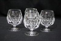 "Set of 4 Brandy Cognac Snifter Oval Cut Stemmed Glasses 4 1/2"" Tall Signed"