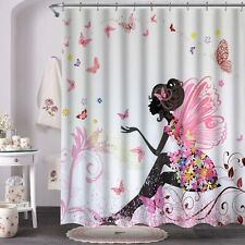 Vva Fabric Shower Curtain with Hooks for Bathroom, Fairy Girl with Wings in a Fl