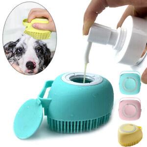 Pet Massage Bath Brush Shampoo Dispenser For Dog Cat Silicone Scrubber Tool