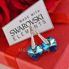 EARRINGS WITH SWAROVSKI ELEMENTS HEART BERMUDA BLUE AB 10mm STERLING SILVER 925