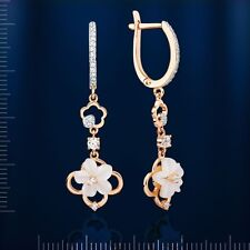 Russian solid rose gold 585 /14k dangle mother of pearl flower earrings NWT