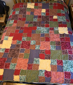 """Handmade Cotton Flannel Rag Quilt Rustic Cabin Country Reversible 69 X 83"""" Warm!"""