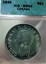 RARE 1946 CANADA Silver Dollar ICG GRADED COIN MS-64 $1 Collectors Canadian