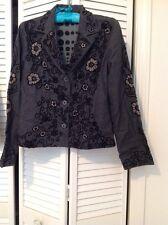SANDY STARKMAN Jacket Charcoal gray ,Embroidered, Sequined Jacket , Med
