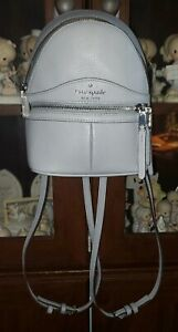 LEATHER KATE SPADE GREY/POWDER BLUE SOFT PEBBLE BACKPACK MEDIUM