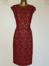 French Connection Angela Red Lace Pencil Wiggle Bodycon Dress NWOT UK6 Rrp£110