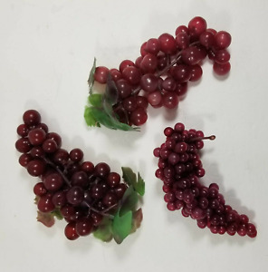 3 Red Grapes Clusters Mid Century Small Vintage Plastic Rubber Faux Fruit Bunch