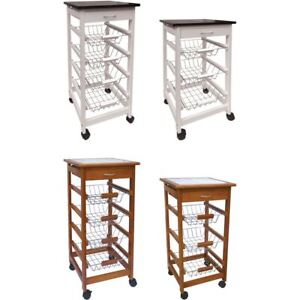3 4 Tier Kitchen Trolley Cart Basket Storage Drawer Wood Portable Brown White