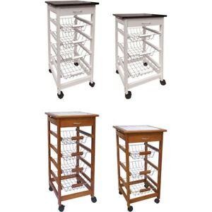 3 4 Tier Kitchen Trolley Cart Basket Storage Drawer Wood Portable Brown White