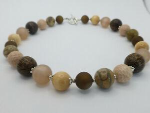 Halskette Collier Perlen Mix Jaspis Polaris Leder Holz Braun Beige UNIKAT