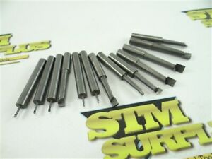 """13 ASSORTED SOLID CARBIDE BORING BARS 1/4"""" SHANKS 3/32"""" TO 3/8"""" MIN HOLE SIZE"""