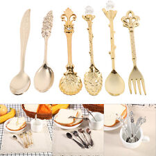 6pcs Carved Vintage Royal Small Coffee Afternoon Tea Spoons + Fork Zinc Alloy SS