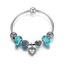 European 925 Silver Bracelet with Clear & Blue European Charms & Murano Beads
