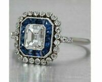 Engagement Wedding Art Deco Sapphire Ring 14K White Gold Fn 2 Ct Emerald Diamond