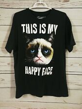 Grumpy Cat T Shirt ~ This Is My Happy Face ~ Black ~ Adult Large