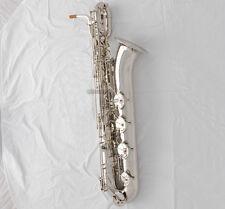 Professional Silver Baritone Saxophone TaiShan Sax Low A keys Germany mouthpiece