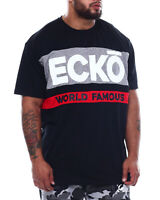 NWT ECKO UNLTD. LOGO AUTHENTIC MEN'S BLACK WHITE CREW NECK SHORT SLEEVE T-SHIRT