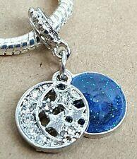 1 Midnight Sparkling Blue Sky Crystal Stars Crescent CZ Moon European Bead Charm