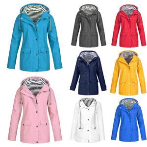 Women's Windbreaker Outdoor Hoodie Waterproof Jacket Raincoat Coat Size  8-36