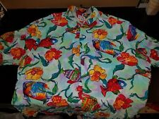 RARE! VTG JAMS WORLD RAYON SHIRT COLORFUL TROPICAL FISH AND FLORAL DESIGN XXL