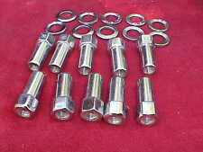 set of 10,1/2x20-1 & 3/8 long mag wheel lug nuts/washers,weld/sst,NHRA OPEN END,