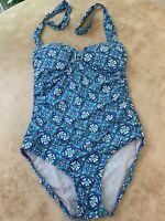 Spanx Love Your Assets One Piece Swim Suit Woman's Large Blue