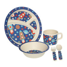 Kids 5pc Space Dinner Set Bamboo Fibre