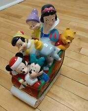 New listing Vintage Disney Cookie Jar Snow White Sleigh Mickie Mouse Pooh Christmas Ceramic