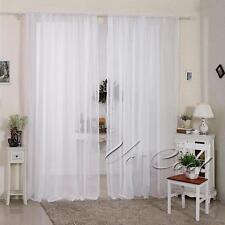 2Pcs Single Plain Voile Net Curtain Sheer Panels Slot Top Window Curtains Decor