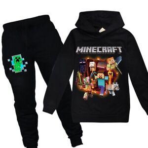 Boys Girls Minecraft Hoodie Tops Pants Sets Long Sleeve Tracksuit Sportswear