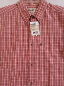 New Gander Mountain Mens L Cotton Shirt Plaid Short Sleeve Button Up~Free S&H