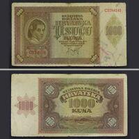 1941 WWII Croatia NDH 1000 Kuna Paper Money Banknote German Nazi Occupation