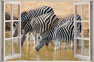 Cheap 3D Window view Zebra Safari Wall Sticker Film Mural Art Decal 265A