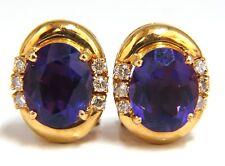 5.06 Natural Amethyst Diamonds Clip Earrings 18Kt