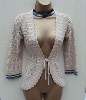 Karen Millen Beige Vintage Unique Crochet Cardigan Bolero Top Shrug KM- 2/10 UK