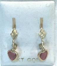 New 14k Yellow Gold Heart Shaped Ruby Leverback  Earrings-Free Shipping!