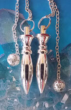 2 SILVER KARNAK OBLONG SOLID DOWSING PENDULUM  WITH 2 POUCHES,  DIVINATION WANDS