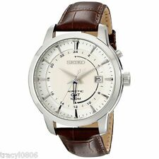 Seiko Men's Kinetic Stainless Steel Watch with Brown Leather Band SUN041 $325