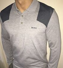 Hugo Boss Long Sleeve Polo Top tshirt BNWT Grey size XL *Green Label*