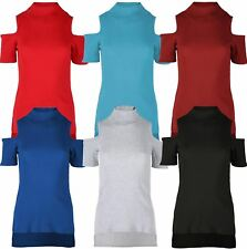 New Womens Plain Fine Knitted High Neck Cut Out Sleeve Ribbed Hem Tops 8-14
