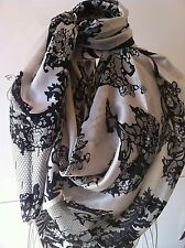 Gorgeous extra large 100% mulberry silk satin lace prints square scarf 1.4mX1.4m