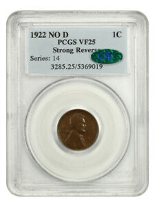 1922 no D Strong Reverse 1c PCGS/CAC VF25 - Affordable Key Variety