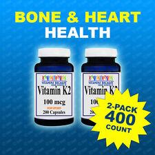 2 Pk Natural Vitamin K2 - Menaquinone 7 (MK 7) 100 mcg 2pk= 400 Caps Quality USA