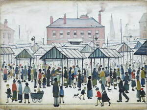 L.S. Lowry Market Scene Poster Reproduction Paintings Giclee Canvas Print