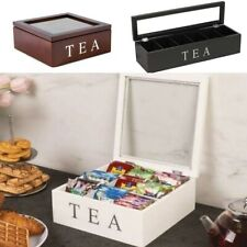 Wooden Tea Box With Lid Retro Style Coffee Organizer Transparent Kitchen Tools